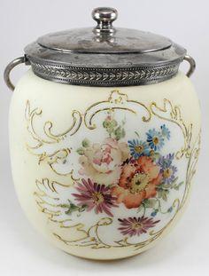 MT Washington Biscuit Jar with an enameled floral design