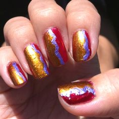 Milano 3D holographic Red base; OPI by Sephora in Rumba Romance on top; NailArt in Lavender; and the help of craft scissors and tape