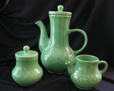Vintage Soft Jade Green Coffee Pot with Sugar and Creamer, Serving Set  Made in Portugal.