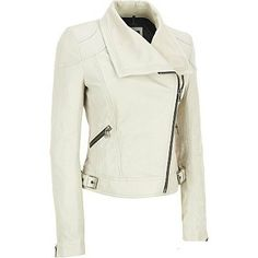 Handmade Women white Leather Jacket With by customdesignmaster, $159.99