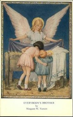 Angel Children Nativity Scene Everybody's Brother - Margaret Tarrant Postcard