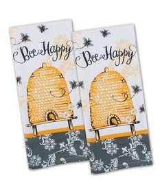 Look what I found on #zulily! 'Bee Happy' Dish Towel - Set of Two by Kay Dee Designs #zulilyfinds