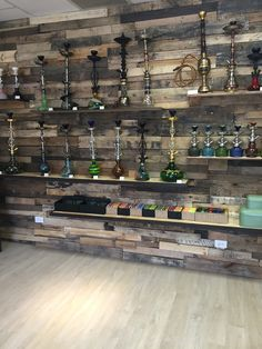 Hookah shisha wall by Roots Smoke Shop Chicago made of reclaimed wood. Lounge Design, Bar Lounge, Cafe Design, Hookah Lounge Decor, Smoke Bar, Hookah Smoke, Head Shop, Smoke Shops, Vape Shop