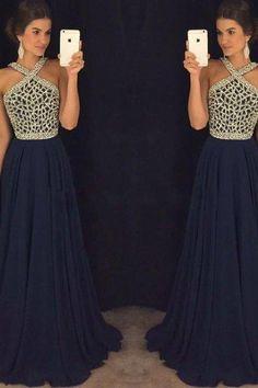 2017 New Arrival pink dark blue beaded long prom dress for teens, dark blue formal dress