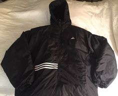 Vintage Men's ADIDAS Black Diamond Quilt Lining Hooded Jacket Run -  | eBay