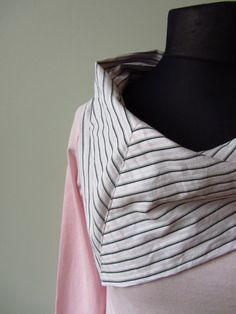 Cowl Neck Pink Tshirt - Upcycled Clothing - cowl neck made from mens dress shirt