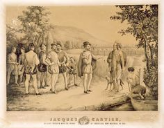 French explorer Jacques Cartier's first interview with the Native Indians at Hochelaga (present day Montreal) in 1535. The illustration was made in 1850. The river is likely the St. Lawrence River, or a branch of the main, and the Natives are the Iroquoian Peoples. There is an oral tradition saying that some of these Iroquoians were Wendat, who moved west.