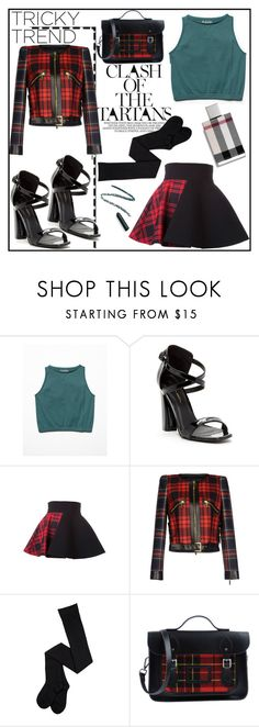 """""""Make It Complicated"""" by castelli ❤ liked on Polyvore featuring Free People, C Label, FAUSTO PUGLISI, The Cambridge Satchel Company, Burberry, tartan and FaustoPuglisi"""