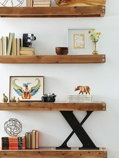 Love these industrial-modern floating shelves (constructed from wood and plexiglass)