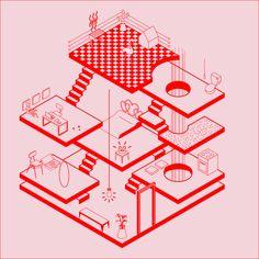 fabiola morcillo, isometric, perspective, lines, geometric, chile, 1989, architecture, illustration, upper playground