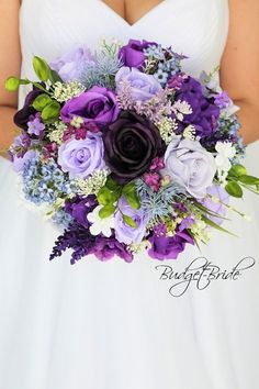 purple lavender wild flower look mixed purples plum Wedding Bouquet