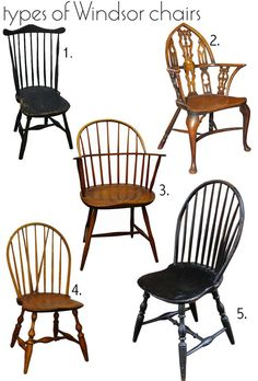 WINDSOR CHAIR - A country chair, introduced in the late 18th century, and although largely made in Slough near Windsor, these chairs can be found in some quite distinct regional variations. 1. Fan back Windsor, 2. English Gothic style Windsor, 3. Sack back Windsor, 4. Brace back Bow back Windsor, 5. Bow back Windsor.