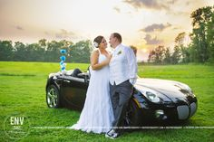 bride and groom sunset with car wedding photography picture idea