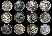 The hobo nickel is a sculptural art form involving the creative modification of small-denomination coins, essentially resulting in miniature bas reliefs. The US nickel coin was favored because of its size, thickness and relative softness. However, the term hobo nickel is generic, as carvings have been made from many different denominations.