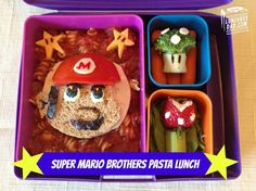 Lean how to make this awesome Super Mario Bros bento lunch and more in this month's Bento Living Newsletter! Pasta Lunch, Healthy Lunches For Work, Work Lunches, Super Mario Brothers, Mario Bros, Food To Go, Fun Food, Kids Nutrition, Kid Friendly Meals