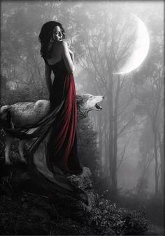 little red and wolf ♡ Wolf Spirit, Spirit Animal, Dark Fantasy, Fantasy Art, Art Wolfe, Wolf Hybrid, Red Ridding Hood, Wolves And Women, Big Bad Wolf