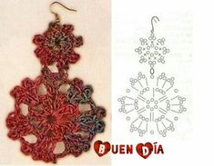 36 New Ideas For Crochet Doilies Chart Pineapple Crochet Jewelry Patterns, Crochet Earrings Pattern, Crochet Motifs, Crochet Bracelet, Crochet Diagram, Crochet Chart, Thread Crochet, Tatting Patterns, Crochet Accessories