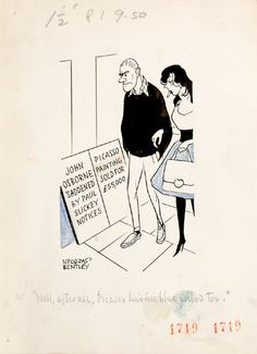 """Well, after all, Picasso had his blue period too."" Two pedestrians read billboards, one noting ""John Osborne 'saddened' by Paul Slickey notices"", the other ""Picasso Painting sold for £ 55,000"". John Osborne's The World of Paul Slickey, a musical satire of the tabloid press, premiered on 5 May 1959 and proved one of the most resounding flops in modern theatrical history."
