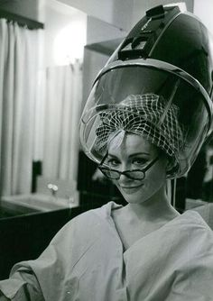Actress Claudine Auger under the dryer Hair Dryer Reviews, Best Affordable Hair Dryer, Vintage Hair Salons, Sleep In Hair Rollers, Hair Dryer Brands, Claudine Auger, Bobe, Roller Set, Hair Quotes