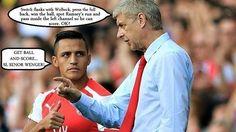 Arsene Wenger rozmawia z Alexisem Sanchezem • Galeria śmiesznych zdjęć • Zabawna rozmowa Wengera i Sancheza • Wejdź i zobacz zdjęcie >>