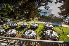 Ocean view set up for outdoor reception at Martin Johnson House in La Jolla, CA.