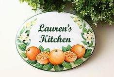 Oranges sign for kitchen, Custom ceramic plaque with kitchen name Kitchen Decor Signs, Kitchen Art, House Plaques, Beach House Signs, Orange Art, Ceramic Houses, Tile Murals, Garden Signs, Round House