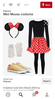 A fashion look from March 2016 featuring NIKE leggings, Converse sneakers y Diesel gloves. Browse and shop related looks. Work Appropriate Halloween Costumes, Halloween Costumes For Teens, Disney Costumes, Halloween Kostüm, Costumes For Women, Women Halloween, Mini Mouse Outfit, Mini Mouse Dress, Minnie Mouse Dress Up