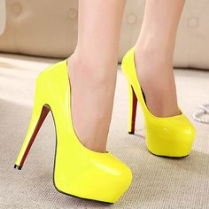 Designer Neon Yellow Women Pumps High-Heels-Platform-Brida -Shoes-Ladies.
