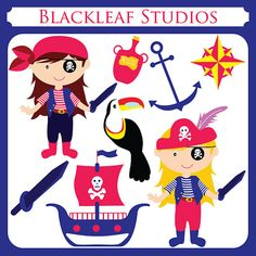 Girl Pirates - girls, ahoy mateys, pirates of the caribbean, ship, black, eye patch, sea robbers - Personal and Commercial. $5.00, via Etsy.