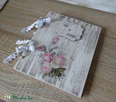 Romantikus rusztikus esküvői vendégköny, fotóalbum,  jókívánság könyv, Esküvő, Nászajándék, Esküvői dekoráció, Meghívó, ültetőkártya, köszönőajándék, Meska