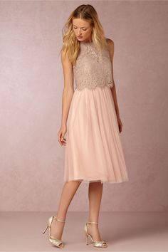 Tulle bridesmaid dress with lace top | Maia Dress with Cleo Topper from BHLDN