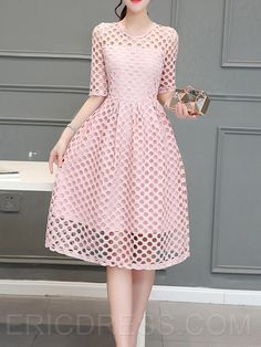 "Ericdress Solid Color Hollow Half Sleeve Casual Dress Casual Dresses - might be a little too ""pink"""