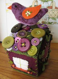 Felted Birdhouse by Betz White / http://blog.betzwhite.com/2011/03/birdhouse-workshop-student-work.html