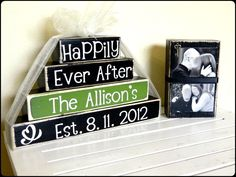 Personalized Happily Ever After wooden blocks for by FayesAttic11, $33.00