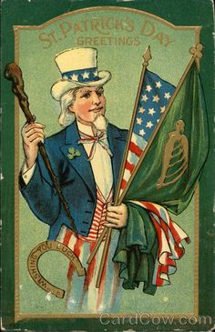 Uncle Sam with Irish and US Flags