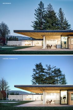 House Set On The Valley is a modern house, located in C on Behance Prefab, Luxury Homes, Building A House, Solar, Villa, Exterior, Patio, Mansions, Architecture