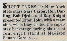 John, Elton / New York Mets Present Elton John with Team Shirt | Magazine Article (1986)