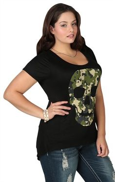 Plus Size High Low Tunic with Camo Skull Screen and Stones