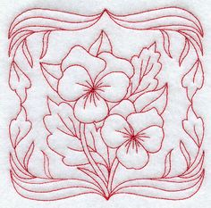 redwork flower designs   Plant cheerful Redwork pansies on tea towels, table linens, quilts ...