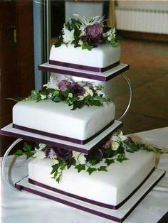 Three floors Purple flowers cake