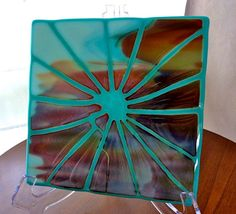 Fused Glass Art Plate in Turquoise, Brown, and White