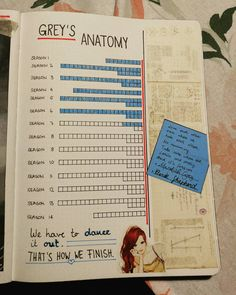 "22 Likes, 1 Comments - BulletJournal by Ela (@elas_bullet_journey) on Instagram: ""#GreysAnatomy #Series #tracker. ❤✌ #derekshepherd ist freakin' ugly... But I drew that today at…"""
