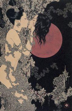 I've recently discovered Takato Yamamoto. This rendition of Salome does Aubrey Beardsley stunning homage.
