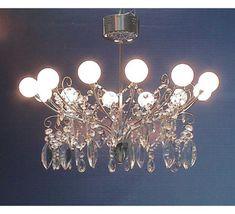 Meyda Tiffany Euro Crystal and Globe 12-Light Semi-Flush Chandelier
