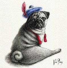 f9aaa0a9a6f5 Pug with feather in her cap Pug Photos