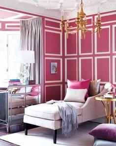 pink, moldings, chandelier, drapes, mirrored dresser