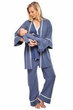 for hospital: 4 Piece Mom And Baby Pajama Set - Blue By Olian | Nursing Apparel