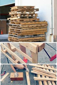 Recycled pallet skids