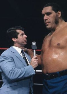 Long before Vince McMahon was chairman and CEO of WWE, he cut his teeth as an announcer, interviewing stars like Andre the Giant while working for his father, promoter Vincent J. McMahon