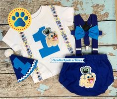 Puppy Dog Pals Cake Smash Outfit, Boys 1st Birthday Outfit – Needles Knots n Bows Baby Girl 1st Birthday, 1st Birthday Outfits, Half Birthday, Birthday Ideas, Suspenders And Tie, Cake Smash Outfit Boy, Thing 1, Baby Bloomers, Toddler Boy Outfits